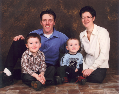 Éric Paquette and Chantal Clément and sons