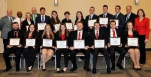 Earning first place honors at the 2017 North American Intercollegiate Dairy Challenge® were teams from Cornell University, North Carolina State University, University of Minnesota, and Virginia Tech.  First Row Row (L-R): Jared Robbins, Aimee Sink, Amanda Smith and Melissa Helms (all of NC State); Andrew Krause, Fredrick Mansfield, Lance Sexton and Johanna Knorr (all from University of Minnesota). Second Row Row (L-R): Dr Alex White, Virginia Tech coach; Kas Ingawa, NC State coach; Whitney Bowman, Virginia Tech; Dr. Steve Washburn, NC State coach; Daniel Comyn, Virginia Tech; Linda Beckett and Mary-Katherine Jones from Virginia Tech; Lauren Hill, Clyde Sammons, Jamie St. Pierre and Grant Feldpausch (all from Cornell); Dr. Mike Van Amburgh, Coach at Cornell University; Dr. Marcia Endres, Coach at University of Minnesota.
