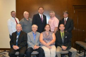 The current Board of Directors of the American Guernsey Association. Seated, L‐R: Duane Schuler, Alan  Mann, Victoria Baker and Brian Dinderman. Standing, L‐R: Chris Lang, Craig Church, CEO Doug Granitz, President David Coon and Todd Moore.