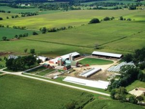 Aerial view of the 136 acre homestead that is Family Af-Ayr Farm in Caledonia, Illinois.